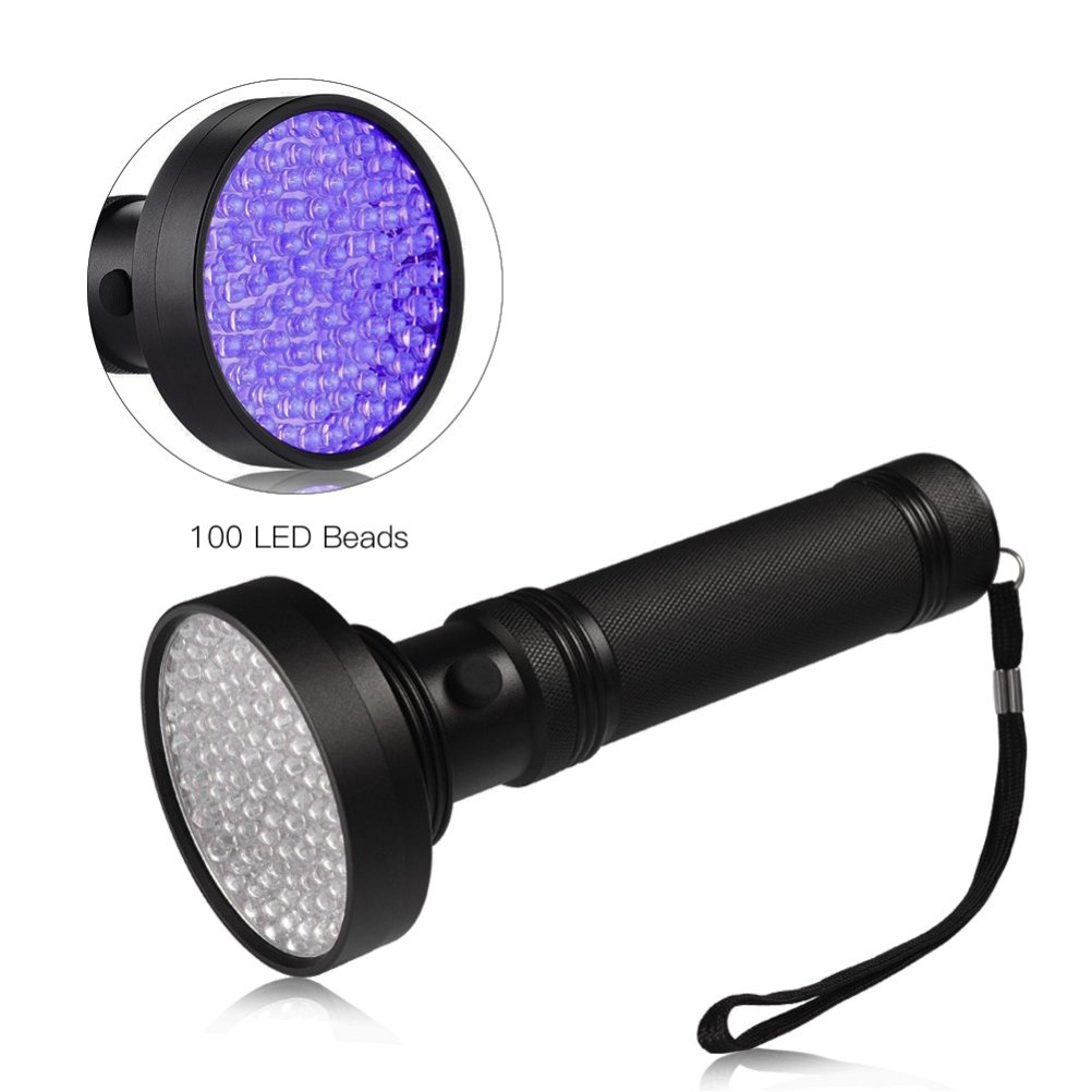UEETEK 100LED UV395nm linterna negro luz antorcha ultravioleta LED luz mascota orina y detector de manchas