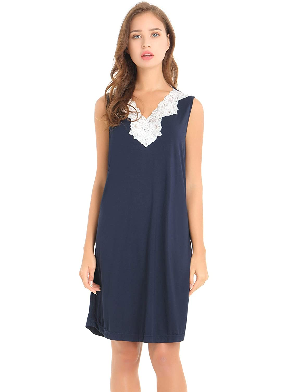 Cherrydew Womens Nightshirt Short Sleeve Sleep Shirt Soft Bamboo Button Down Pajama Nightgown