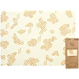 Bee's Wrap Reusable Bread Wrap, Eco Friendly Reusable Beeswax Food Wrap, Sustainable, Zero Waste, Plastic Free Bread Keeper & Food Storage (Honeycomb Print)