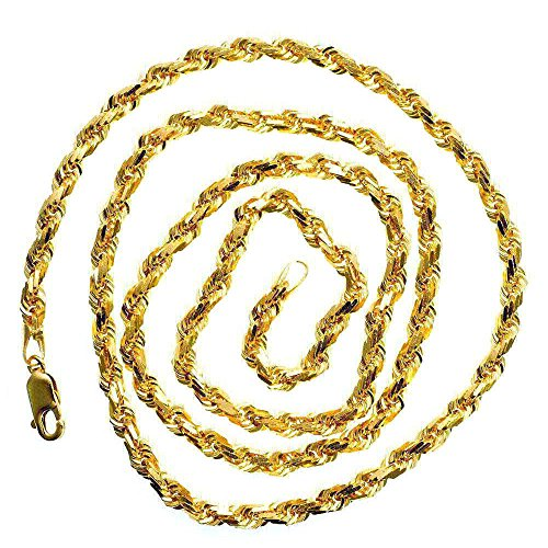 IcedTime 14K YELLOW Gold SOLID ROPE Chain - 24 inch Long 5mm Wide by IcedTime (Image #1)