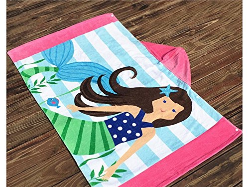 Multifunctional Tool Child Cotton Cartoon Girl Print Beach Towel (Colorful) by Yiyane
