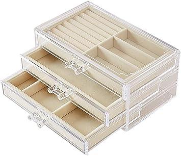 AG Caja de almacenamiento de joyas de madera Pendientes de reloj de acrílico Pendientes Collar de anillo Caja desmontable Caja de almacenamiento,luz de color caqui: Amazon.es: Bricolaje y herramientas