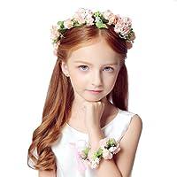Ruier-hui Blumenmädchen Blumenkranz Set-Handwerk Blumenkrone Stirnband+Armband für Hochzeit/Party/Geburtstag,Blumenstirnband Kit für Mädchen
