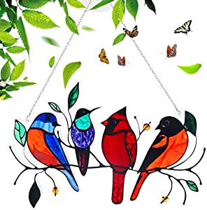Multicolor Birds on a Wire High Stained Acrylic Suncatcher Window Hangings,Bird Series Ornaments Pendant,Home Decoration for Patio Yard, Creative Decor Gifts for Bird Lovers (4 Birds)