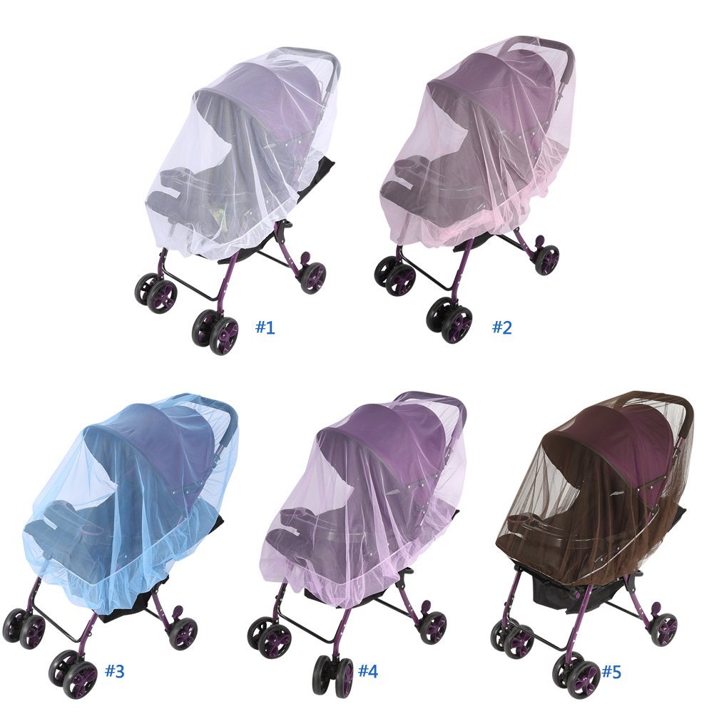Coffee 1Pcs Baby Kids Stroller Pushchair Mosquito Insect Net Buggy Safe Protection Mesh Cover for Pushchairs Prams and Carrycots