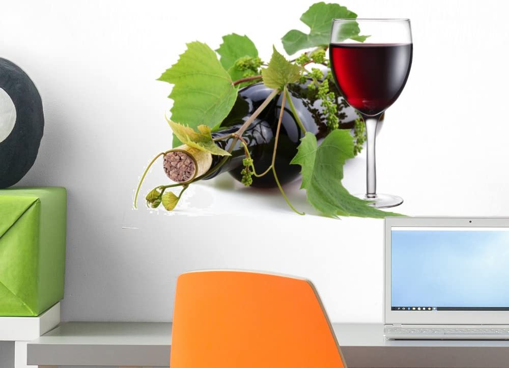 Wallmonkeys Bottle of Wine Entwined with Vine Wall Decal Peel and Stick Graphic WM79342 (18 in W x 14 in H)