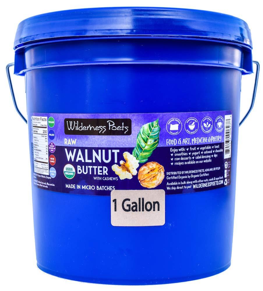 Wilderness Poets, Walnut Butter with Cashews - Organic, Raw, Bulk Nut Butter (1 Gallon Pail, 8.5 Pound, 136 Ounce)