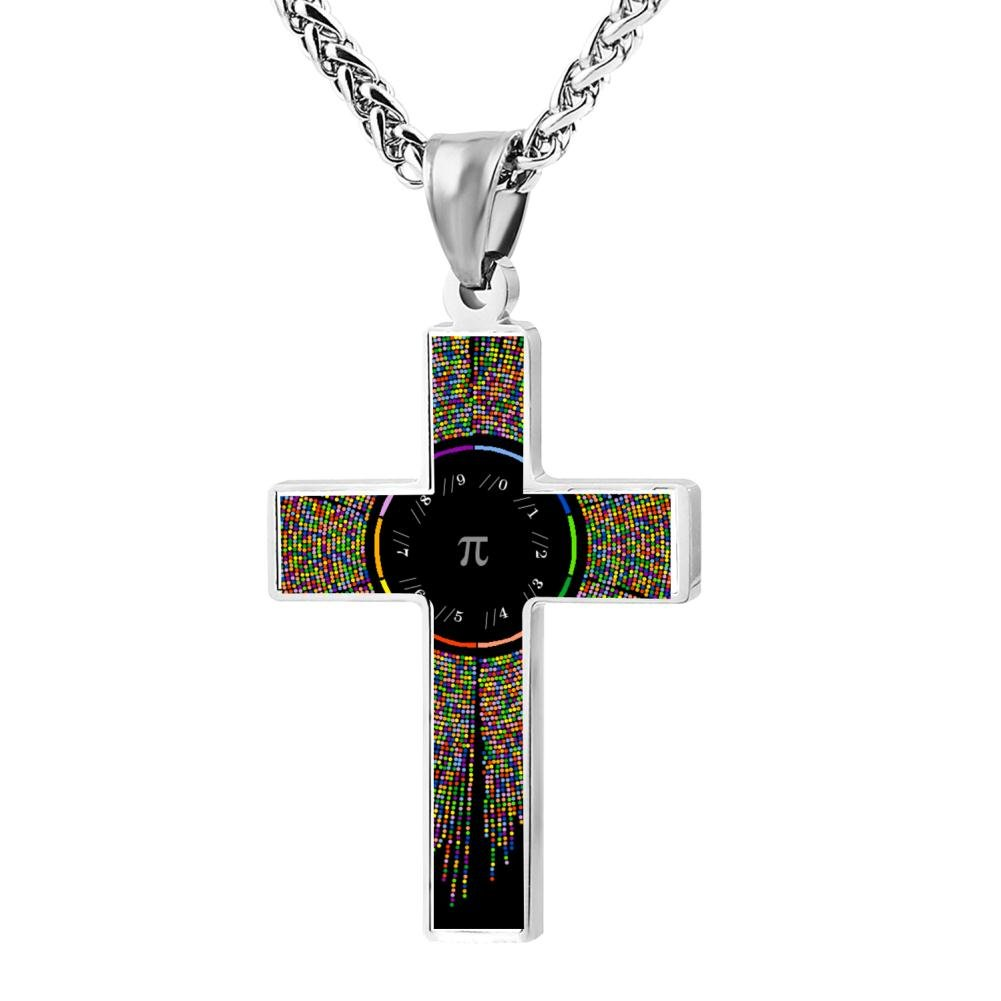 LUQeo Cross Necklace Pi Christ Cross Necklace Fashion Religious Jewelry Pendant
