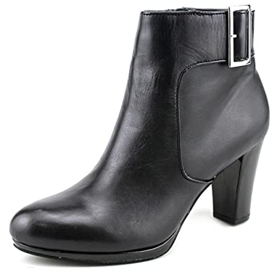 Womens Pamie Leather Closed Toe Ankle Platform Boots