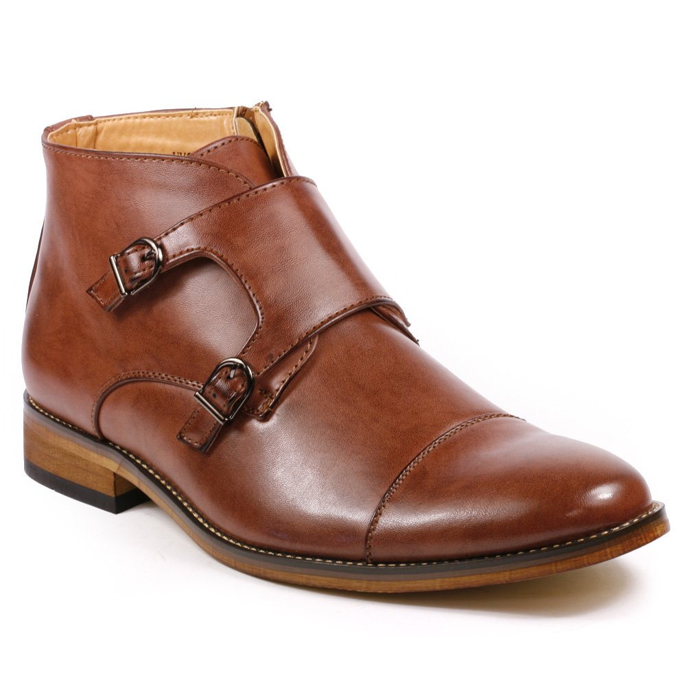 UV SIGNATURE UV204 Men's Cap Toe Double Monk Strap Formal Dress Casual Ankle Boots (13, Brown)