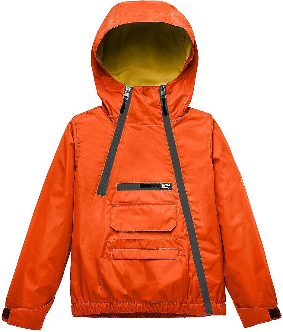Wantdo Boys Girls Fleece Hood Waterproof Windbreaker Rain Jacket