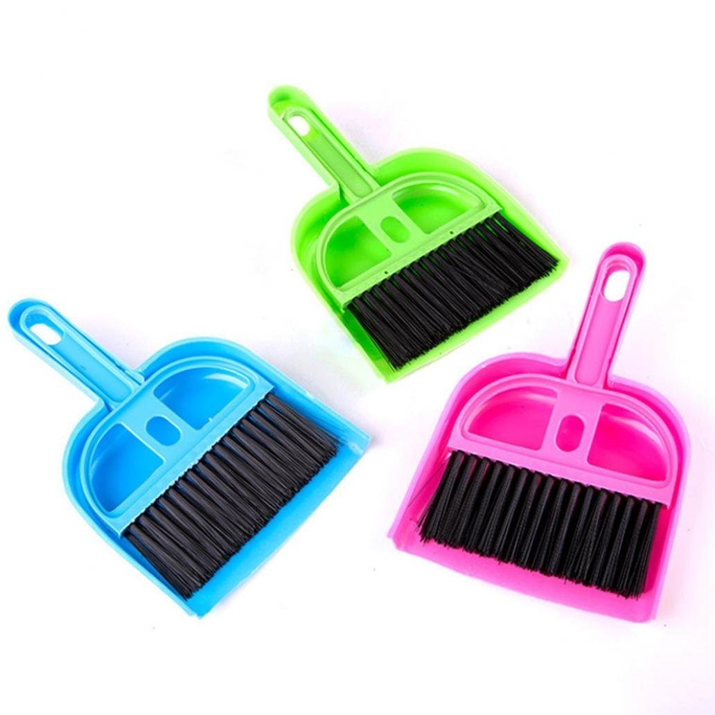Aplus 2Pcs Mini Dustpan Brush Sets, Plastic Handle Cleaning Whisk Broom Handheld Sweeping Brush and Shovel Hard Floor Sweeper Brush for Indoor Home Office Desk Table Aplus SHOP