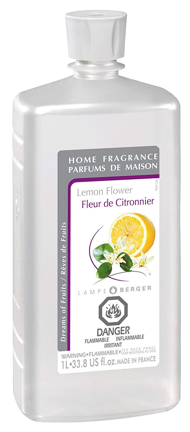 Lemon Flower | Lampe Berger Fragrance Refill for Home Fragrance Oil Diffuser | Purifying and perfuming Your Home | 33.8 Fluid Ounces - 1 Liter | Made in France by MAISON BERGER