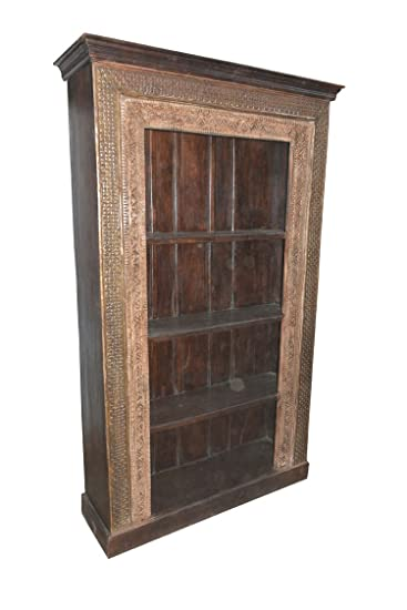 Antique Indian Bookcase Hand Carved Book Shelf Traditional Carvings Spanish  Designer Furniture