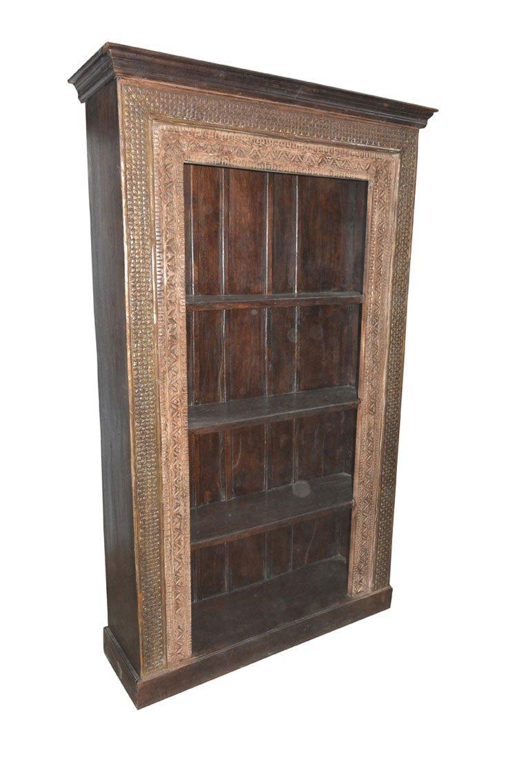 Antique Indian Bookcase Hand Carved Book Shelf Traditional Carvings spanish Designer Furniture