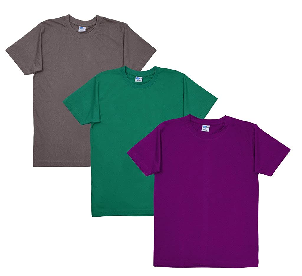 91161289c FLEXIMAA Men's Cotton Round Neck T-Shirts (Pack of 3) - Steel Grey, Purple  & Pakistan Green Colors.: Amazon.in: Clothing & Accessories