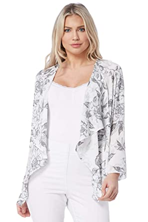 0dab2ca7 Roman Originals Women Floral Print Kimono Cardigan Jacket - Ladies  Cardigans for Summer Evening Holiday Boho Daywear Blazer Lightweight Smart  Style Jackets ...