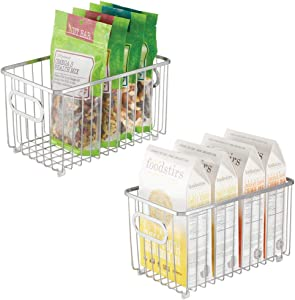"""mDesign Metal Farmhouse Kitchen Pantry Food Storage Organizer Basket Bin - Wire Grid Design - for Cabinets, Cupboards, Shelves, Countertops, Closets, Bedroom, Bathroom - 10"""" Long, 2 Pack - Chrome"""