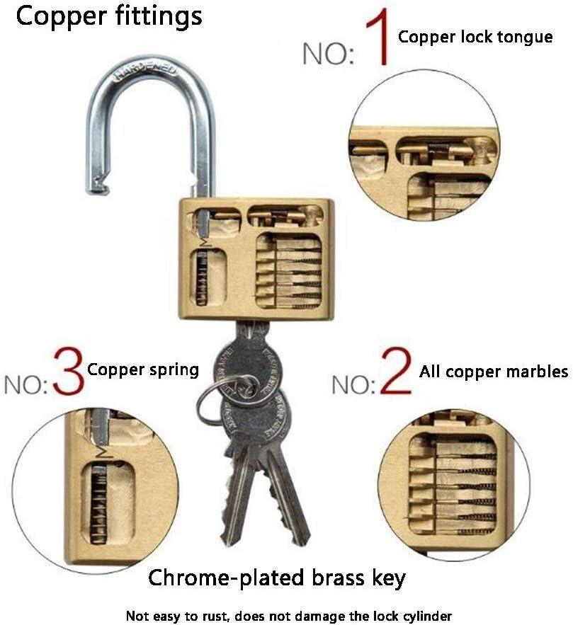 3 Keys,Outdoor Warehouse Big Iron Door Drawer Safety Waterproof Anti-theft Lock MUMA Solid Brass Padlock 30mm//40mm//50mm//60mm Color : Gold, Size : 20MM