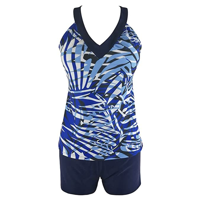 4593fa675e9ac Image Unavailable. Image not available for. Color: LAPOPNUT Womens Tankini  Set Swimwear with Shorts Padded 2 Pcs Tankinis Swimsuit Palm