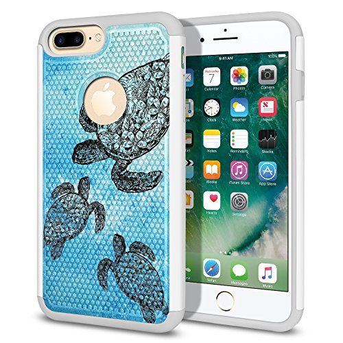 Apple Iphone Silicone Skin Case (Apple iPhone 7 Plus 2016 / iPhone 8 Plus 2017 5.5 inch Case, Fincibo (TM) Dual Layer Football Skin Hybrid Hard Protector Cover TPU Soft Silicone Shock Absorbent, Ocean Sea Turtle)