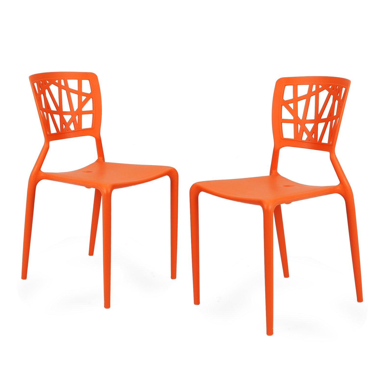 Amazon.com: Adeco Polypropylene Hard Plastic Dining Chairs, Fun Living  Dining Room Set Of 2, Blue: Kitchen U0026 Dining