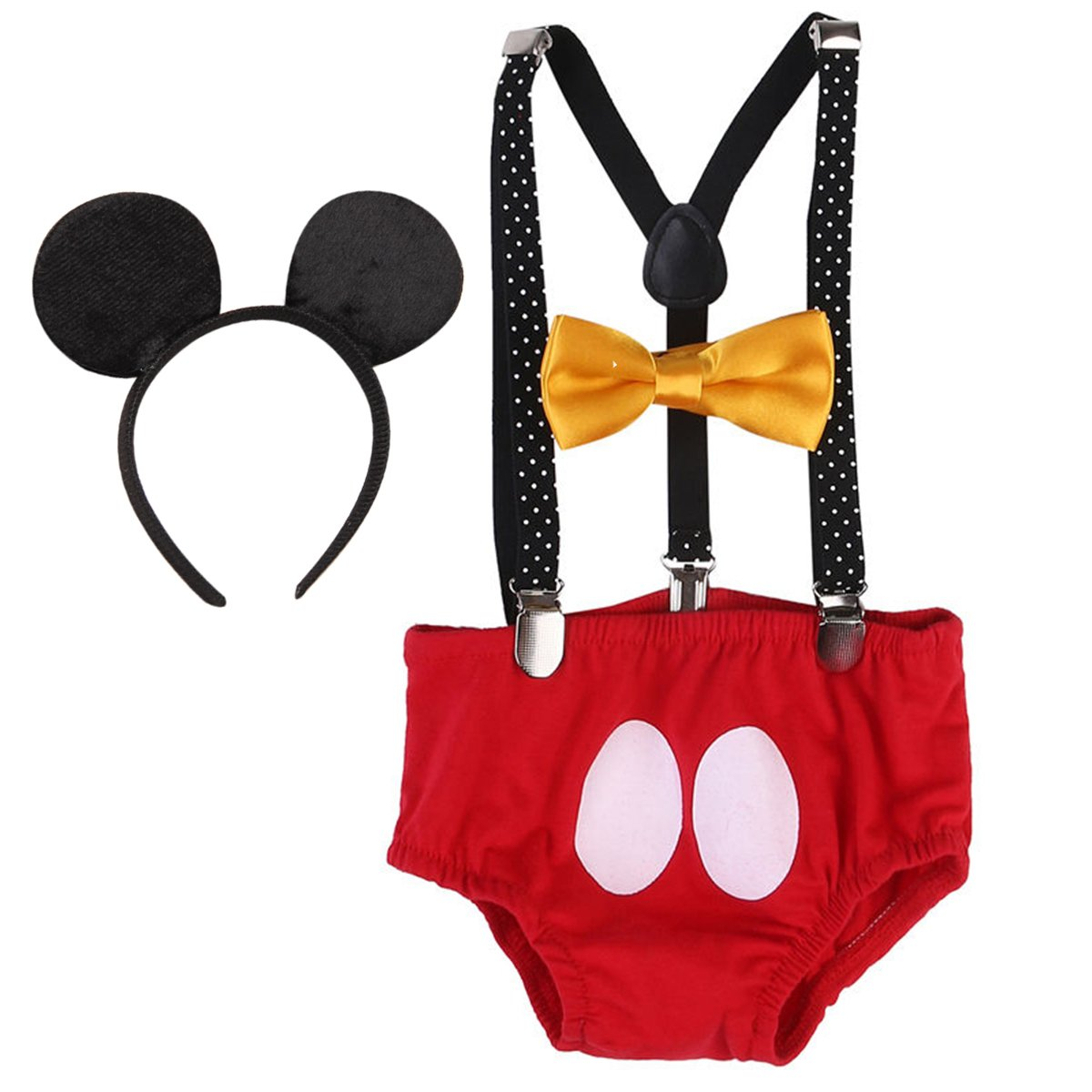 Baby Boys 1st Birthday Cake Smash Outfit Adjustable Y Back Clip Suspenders Bowtie set Bloomers Clothes with Mouse Ears Headband