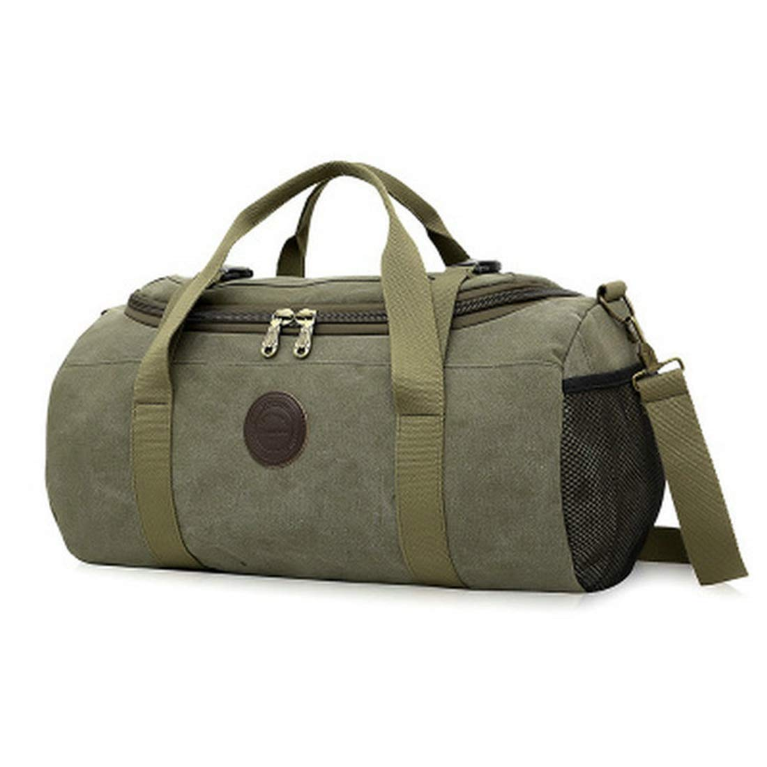 Color : Khaki Hand Luggage MATCHANT Canvas Travelling Bag Single Shoulder Drum Bag Fashion Cross Tour Package. Short Wave