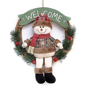 "baidercor 12"" Christmas Wreath Decorations Snowman Hanger Ornaments Door Decor"