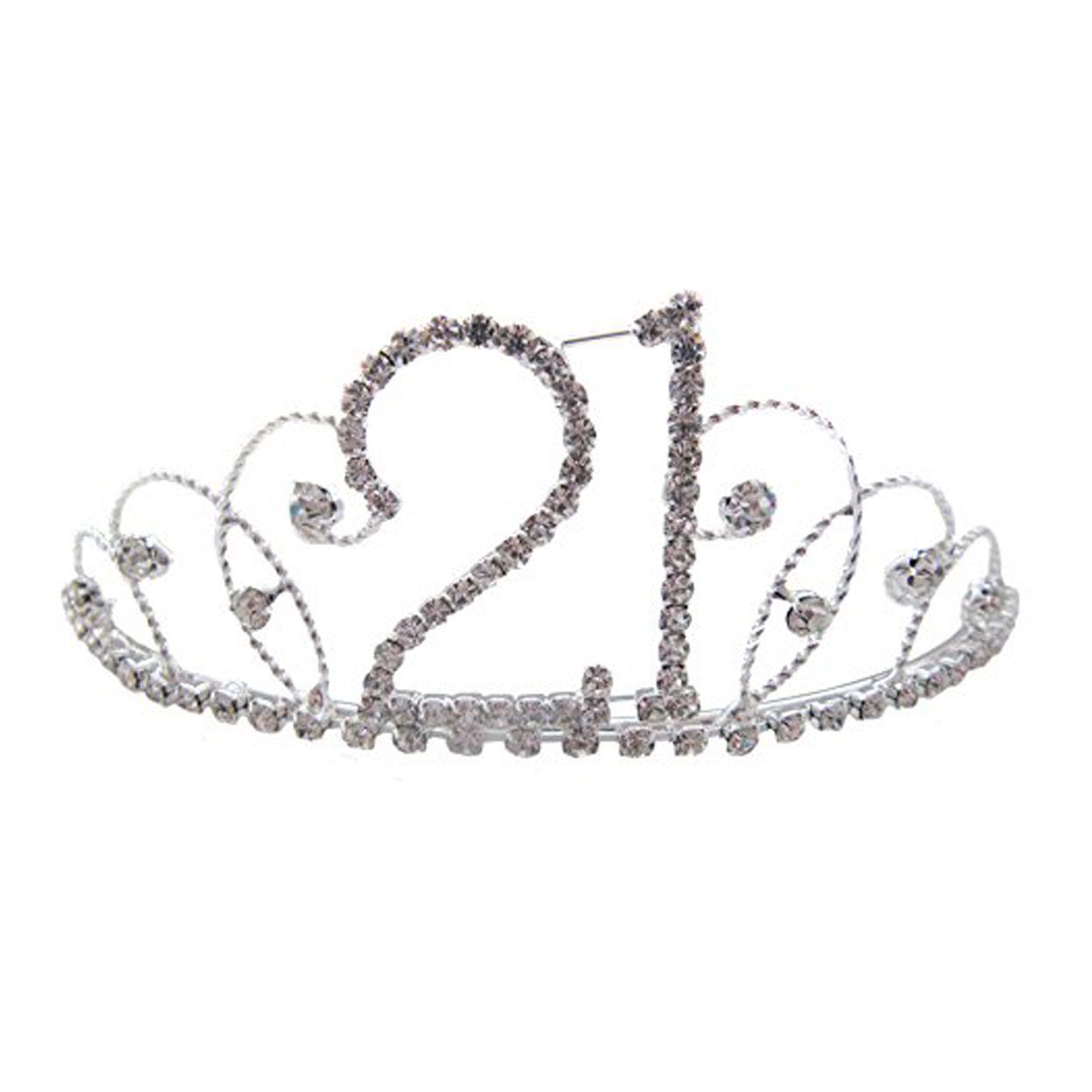 Pick A Gem Hair Accessories Silver Clear Diamante Crystal 21st Birthday Tiara Crown / Happy 21st Birhday