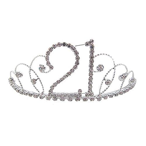 Silver Diamante Crystal 21st Birthday Tiara / 21st