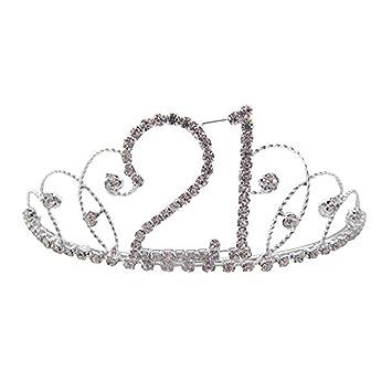 Pick A Gem Hair Accessories Silver Clear Diamante Crystal 21st Birthday Tiara Crown / Happy 21st Birhday hVuwTcIrxz