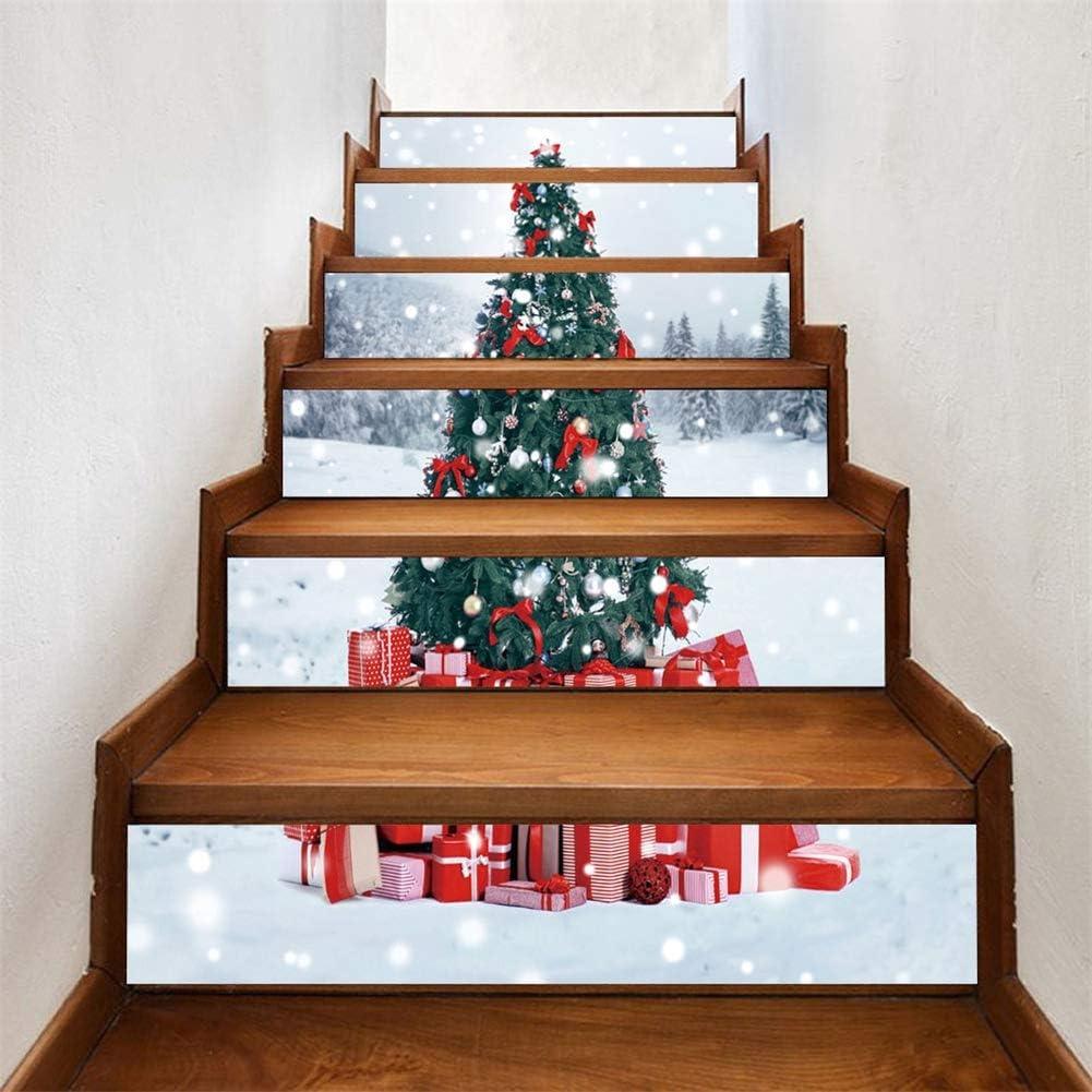Árbol de Navidad 3D autoadhesivo Escalera Pegatinas- impermeable extraíble del peldaño etique cáscara y palillo pared pegatinas decoración del hogar: Amazon.es: Hogar