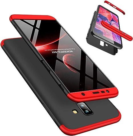 Funda Samsung Galaxy J6 Plus 360°Caja Caso + Vidrio Templado Laixin 3 in 1 Carcasa Todo Incluido Anti-Scratch Protectora de teléfono Case Cover para Samsung Galaxy J6 Plus (Roja Negro): Amazon.es: Electrónica