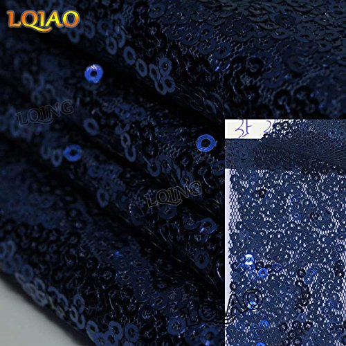 LQIAO Navy Blue Sequin Table Runner-13x108inch Sparkly Shimmer Sequin Fabric, Sequin Table Runner, Sequin Tablecloth, Table Linens Wedding Dining Party Shiny Decoration(18PCS) by LQIAO
