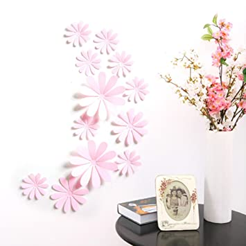 Amaonm 24 Pcs Cute 3d Diy Flowers Wall Decals Removale Home Art Decor Flowers Wall Stickers Murals For Kids Girls Room Bedroom Weeding Party Birthday