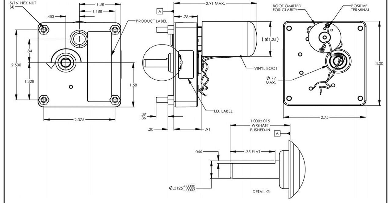 DC Gearmotor,Nameplate RPM 3.4,0.50A DAYTON 52JE48
