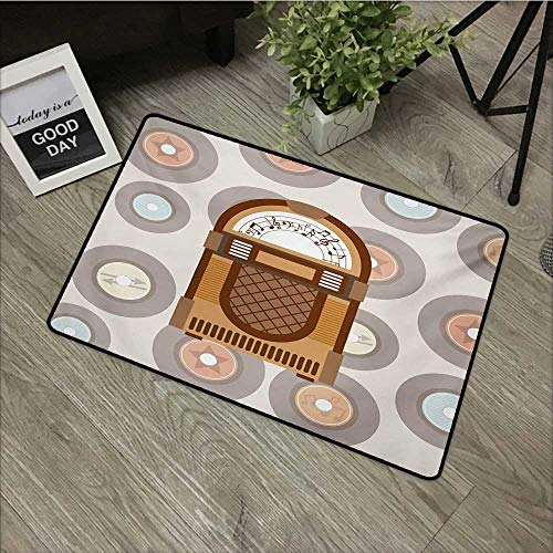 Pool Anti-Slip Door mat W35 x L59 INCH Jukebox,Pick Up Music with Vintage Abstract Long Players Backdrop,Brown Pale Coffee Grey and Peach Non-Slip, with Non-Slip Backing,Non-Slip Door Mat Carpet