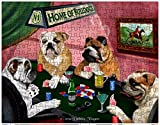 Bulldogs Playing Poker 252 Pc. Puzzle with Photo Tin