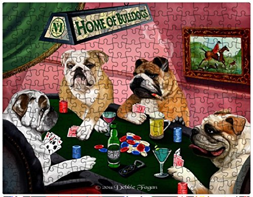 Bulldogs Playing Poker 252 Pc. Puzzle with Photo Tin by Doggie of the Day