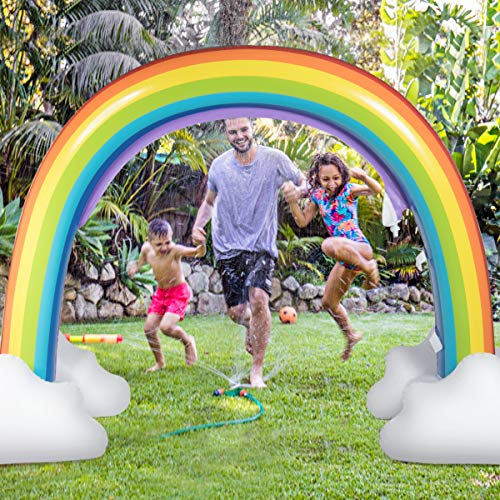 Costzon Inflatable Rainbow Sprinkler, Giant Arch Water Sprinkler with Environmental Friendly PVC -