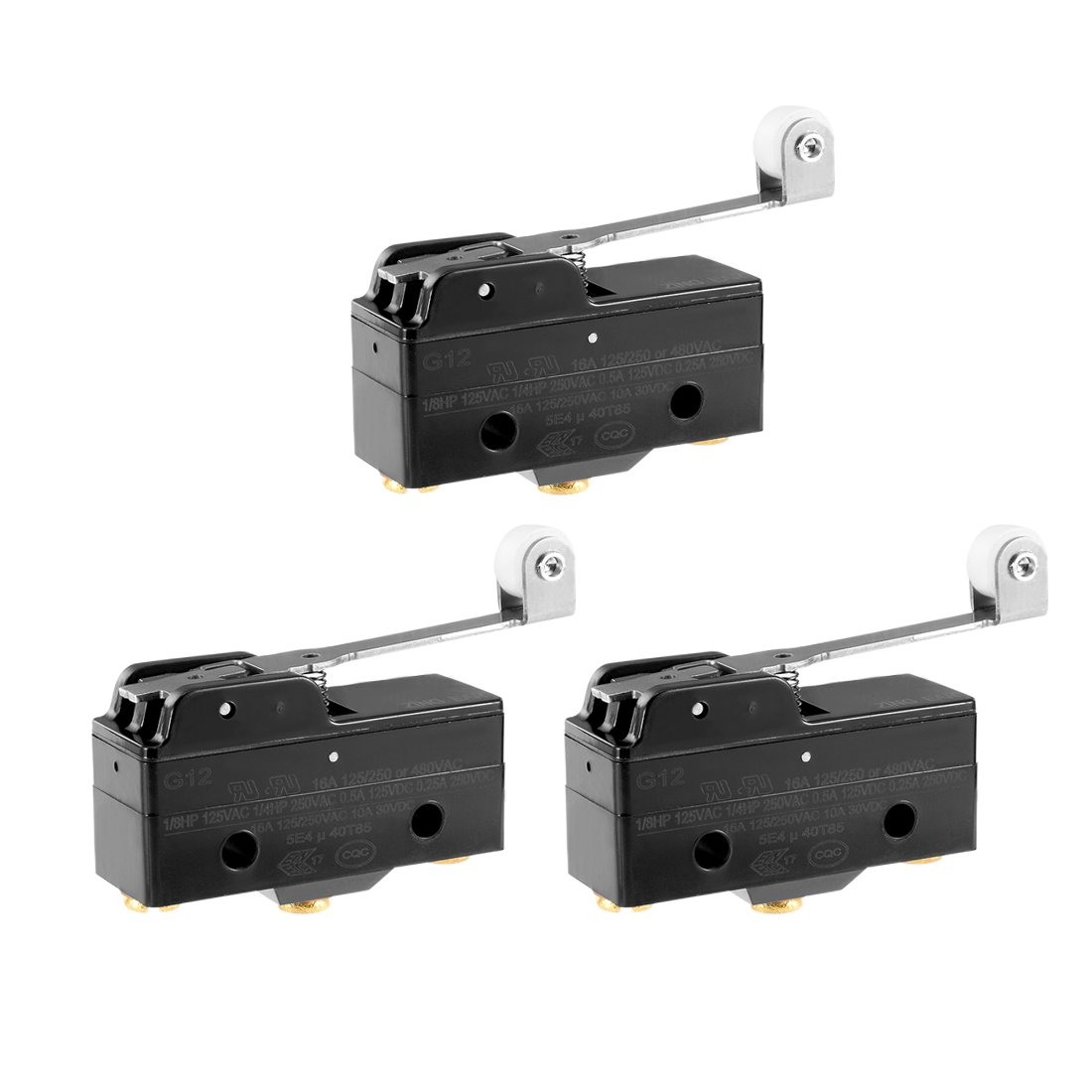 uxcell 3pcs G1216-1RW3 Screw Terminals Long Hinge Roller Lever Micro Limit Switch 380VAC 15A