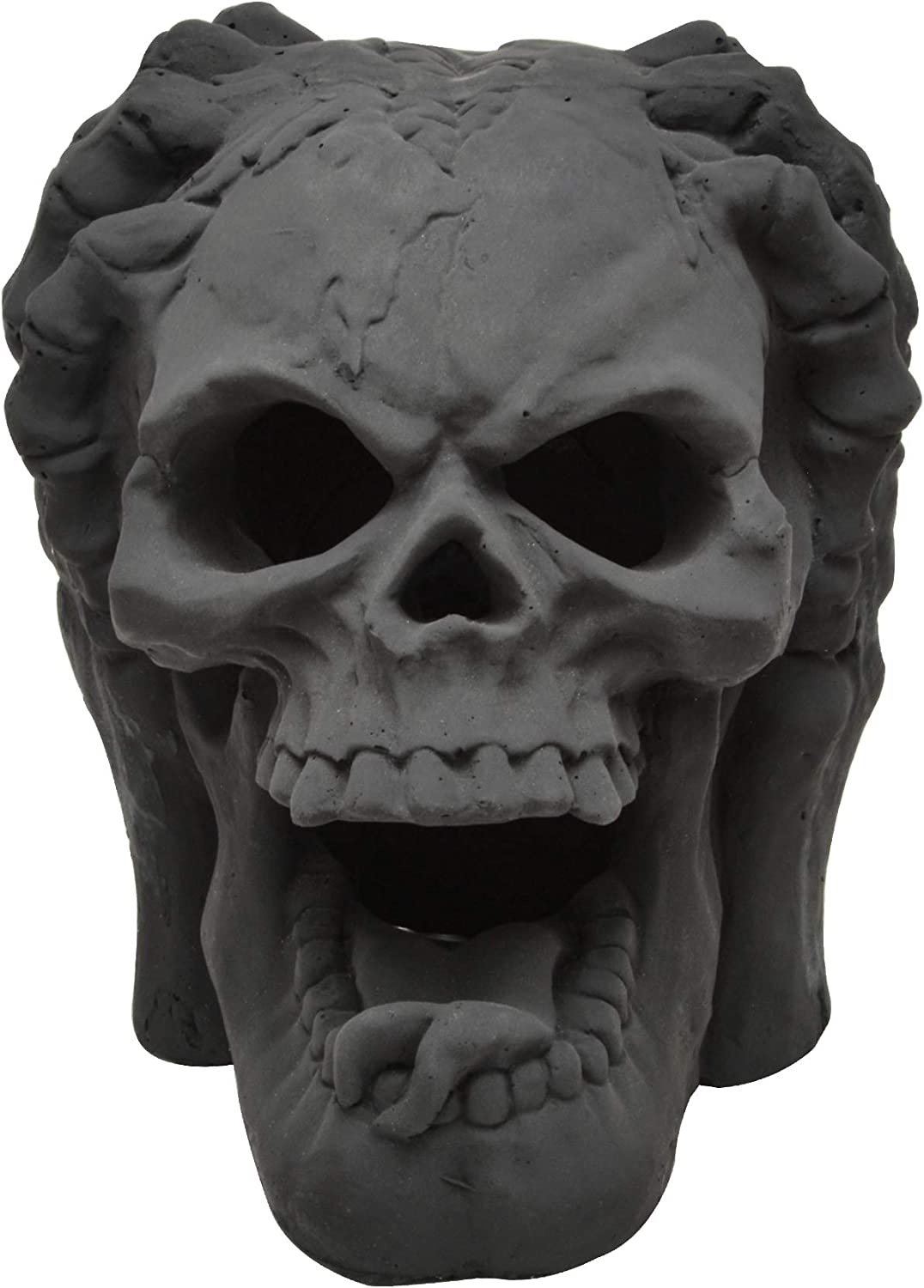 Stanbroil Fireproof Imitated Human Skull with Two Hands Gas Log for Indoor or Outdoor Fireplaces, Fire Pits, Halloween Decor, 1-Pack - Patent Pending