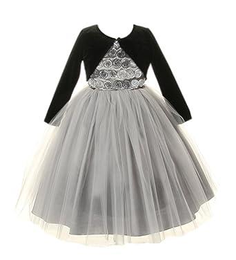 279bd54c4bb Amazon.com  Cinderella Couture Girls Platinum Tulle Dress w  Velvet Bolero  2 (1113)  Special Occasion Dresses  Clothing