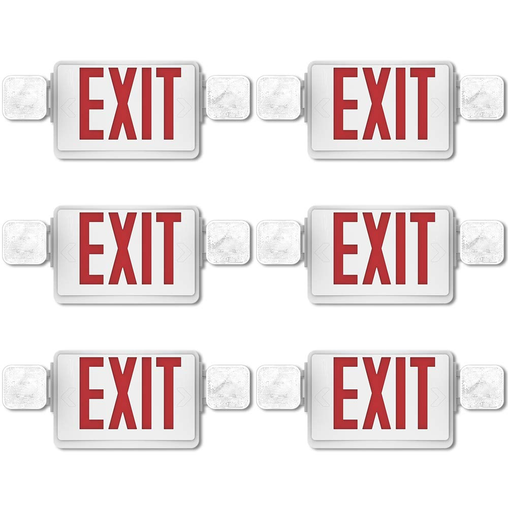Sunco Lighting 6 Pack Double Sided LED Emergency EXIT Sign, Two LED Flood Lights, Backup Battery, US Standard Red Letter Emergency Exit Lighting, Commercial Grade, Fire Resistant