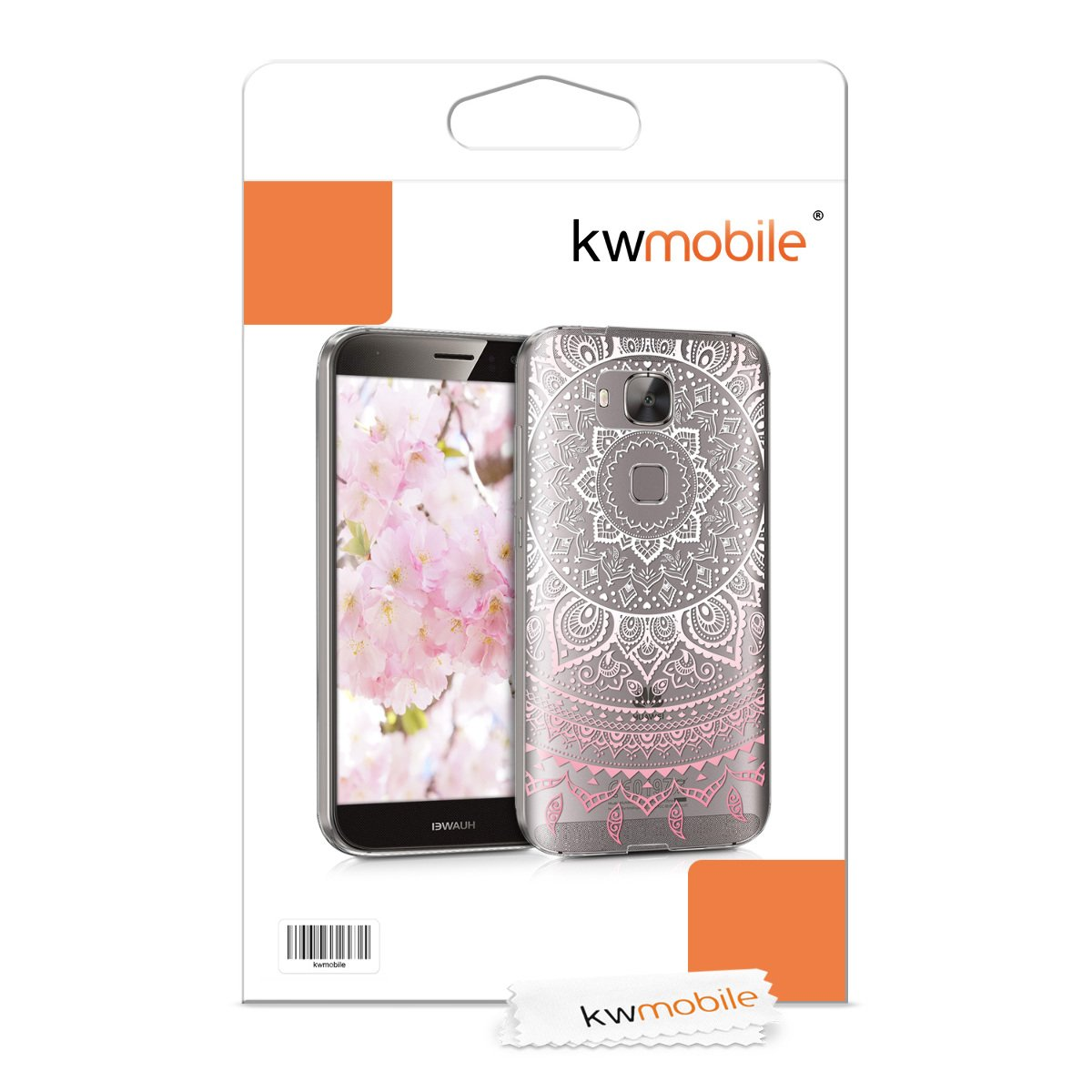 kwmobile TPU Silicone Case for Huawei G8 / GX8 - Crystal Clear Smartphone Back Case Protective Cover - Light Pink/White/Transparent