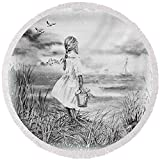 Pixels Round Beach Towel With Tassels featuring ''Girl And The Ocean'' by Irina Sztukowski