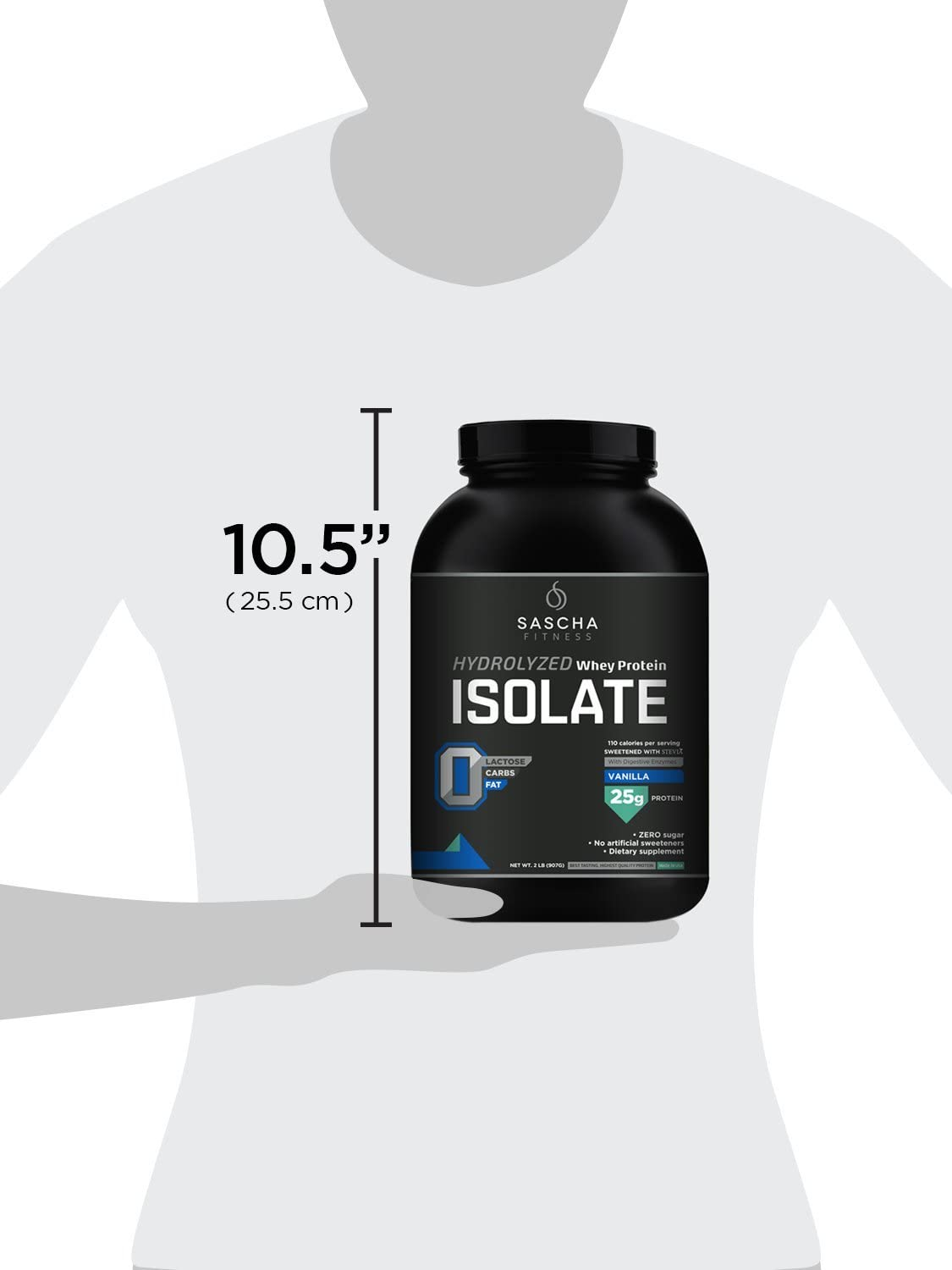 Sascha Fitness Hydrolyzed Whey Protein Isolate,100% Grass-Fed (2 Pounds, Vanilla): Health & Personal Care