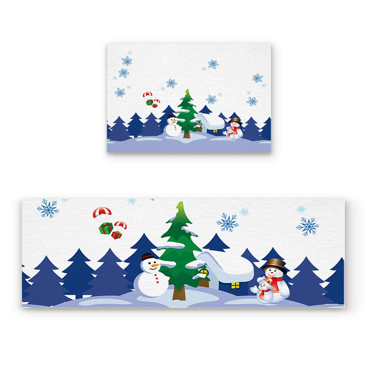 Snowman21sho9750 23.6''W by 35.4''L + 23.6''W by 70.9''L 2 Piece Non-Slip Kitchen Mat Rubber Backing Doormat Runner Rug Set, Kids Area Rug Carpet Bedroom Rug Christmas Snowing Snowman and Snowflake Pattern 23.6''x35.4''+23.6''x70.9''