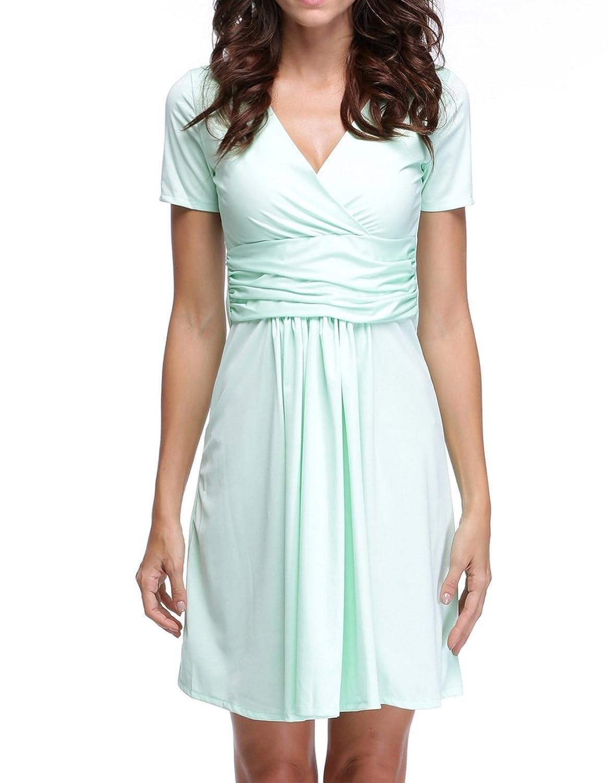 eshion New Elegant Women's Dress V Neck Short Sleeve Knee Lenght Tunic